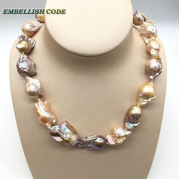 Large baroque pearl Irregular statement necklace tissue nucleated flameball peach purple mixed natural pearls popular jewelry
