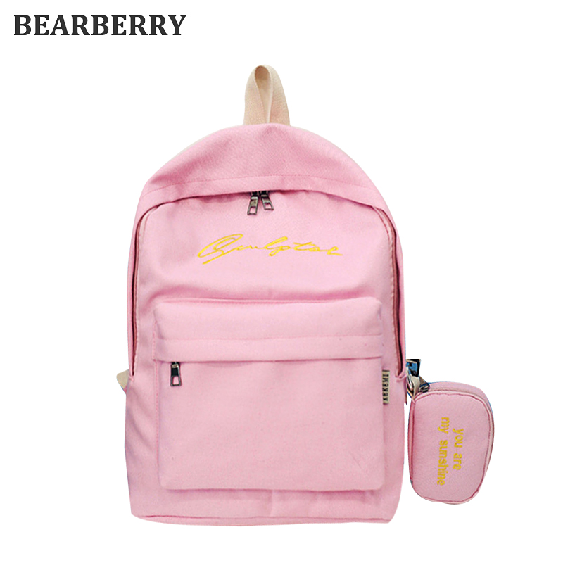 Bearberry 2017 high quality embroidery canvas backpacks set casual large capacity school bags for girls travel