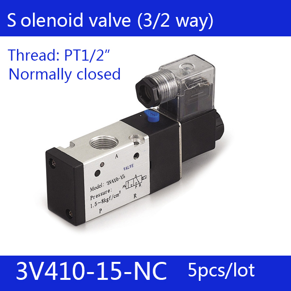 Free shipping 5PCS Pneumatic valve solenoid valve 3V410-15-NC Normally closed DC24V AC220V,1/2 , 3 port 2 position 3/2 way, 20pcs free shipping pneumatic valve solenoid valve 3v310 10 nc normally closed dc12v 24v ac220v 3 8 3 port 2 position 3 2 way
