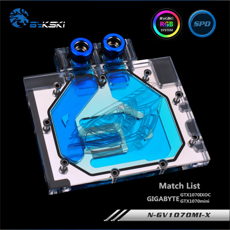 Bykski Full Coverage GPU Water Block For GIGABYTE GTX1070IXOC GTX1070mini Graphics Card N-GV1070MI-X computador cooling fan replacement for msi twin frozr ii r7770 hd 7770 n460 n560 gtx graphics video card fans pld08010s12hh