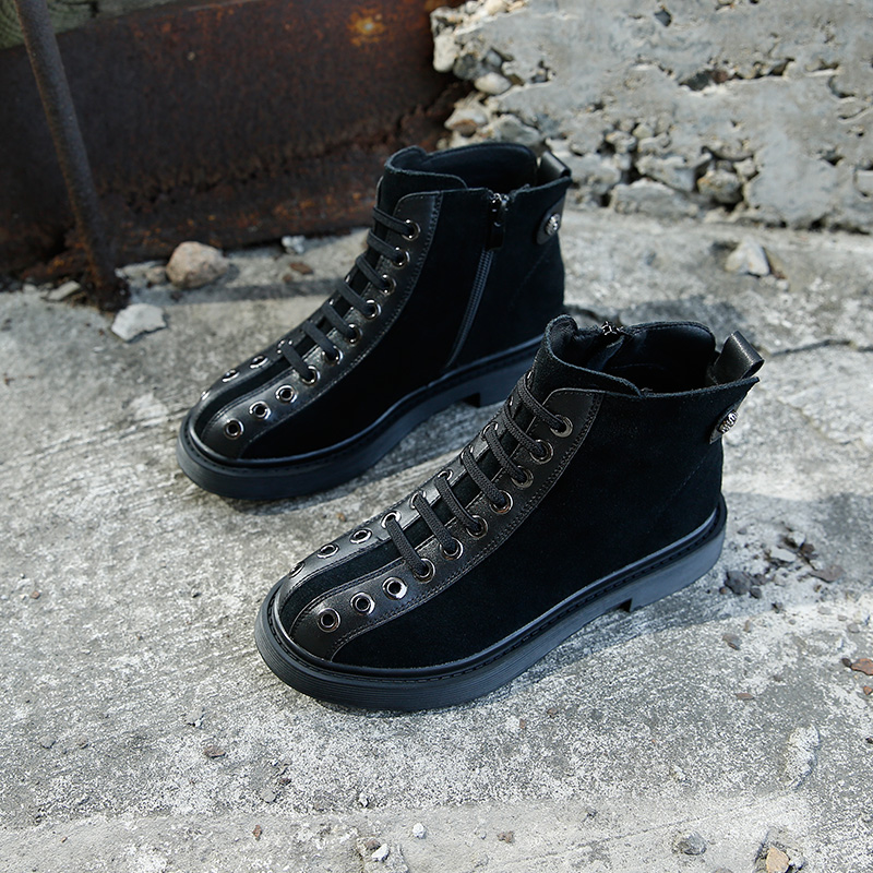 Negro Martin Invierno Goma Se Alto Mujeres Zapatos Gris Se Casuales Botas De Mujer Para Moda Hei Top Inferiores hui Cómodas pHIwY