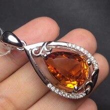 gems size 12*18mm real 925 silver natural citrine pendant for women pendants neckalces