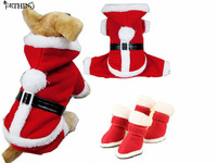 Estilo caliente zapatos conjunto abrigo de ropa para mascotas cachorro mascotas ropa para perros de Navidad traje de navidad para mascotas zapatos botas de santa de navidad