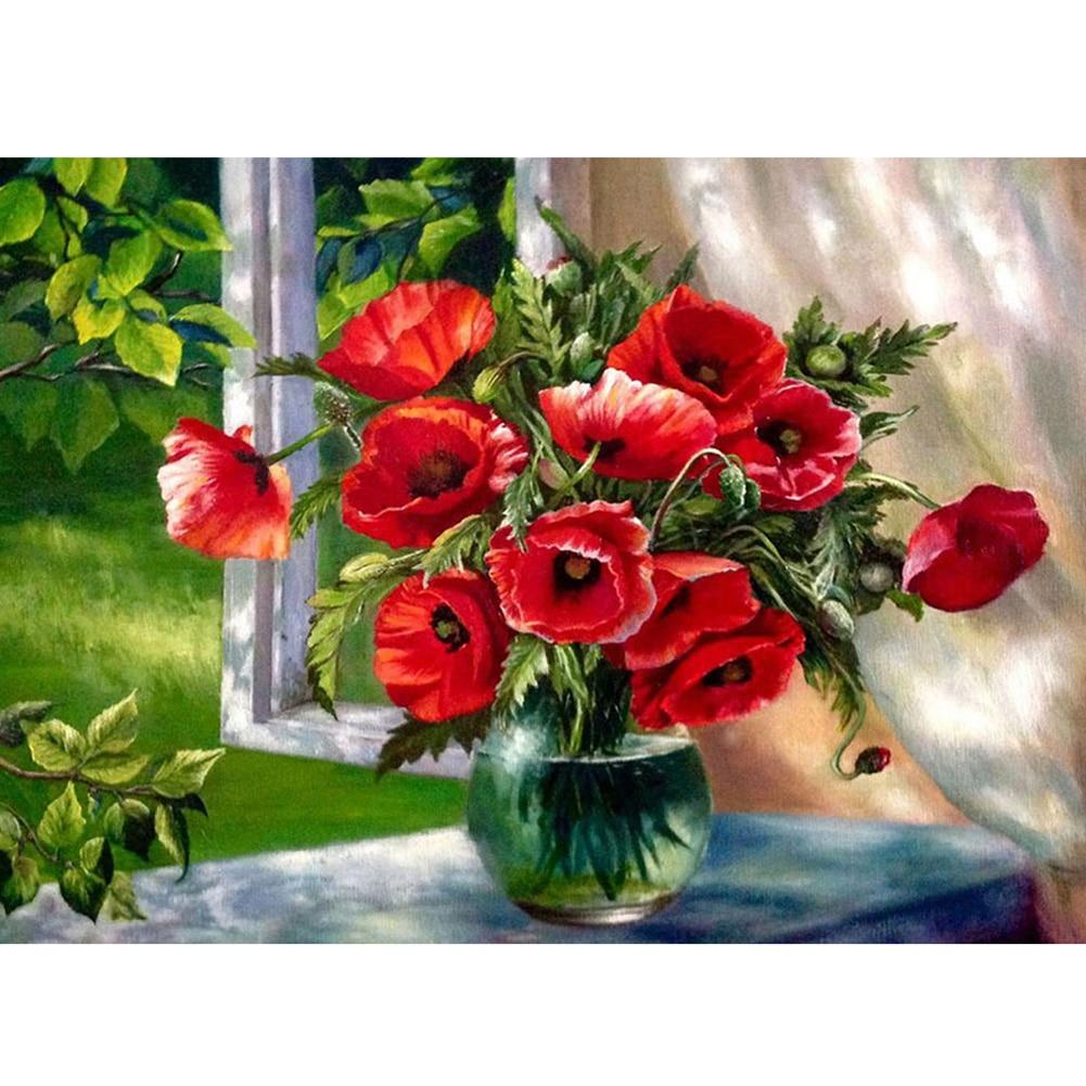 Diamond cross stitch 5d diamond embroidery red flower vase home decor diy diamond painting Diy home decor flower vase