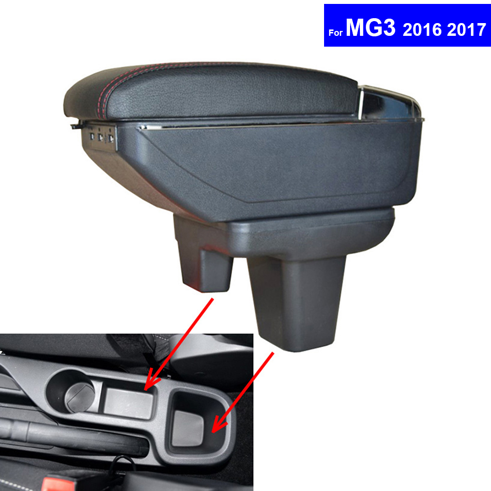 Leather Car Center Console Armrests for MG3 2016 2017 2018 Auto Content Storage Box with USB Free Shipping universal leather car armrest central store content storage box with cup holder center console armrests free shipping