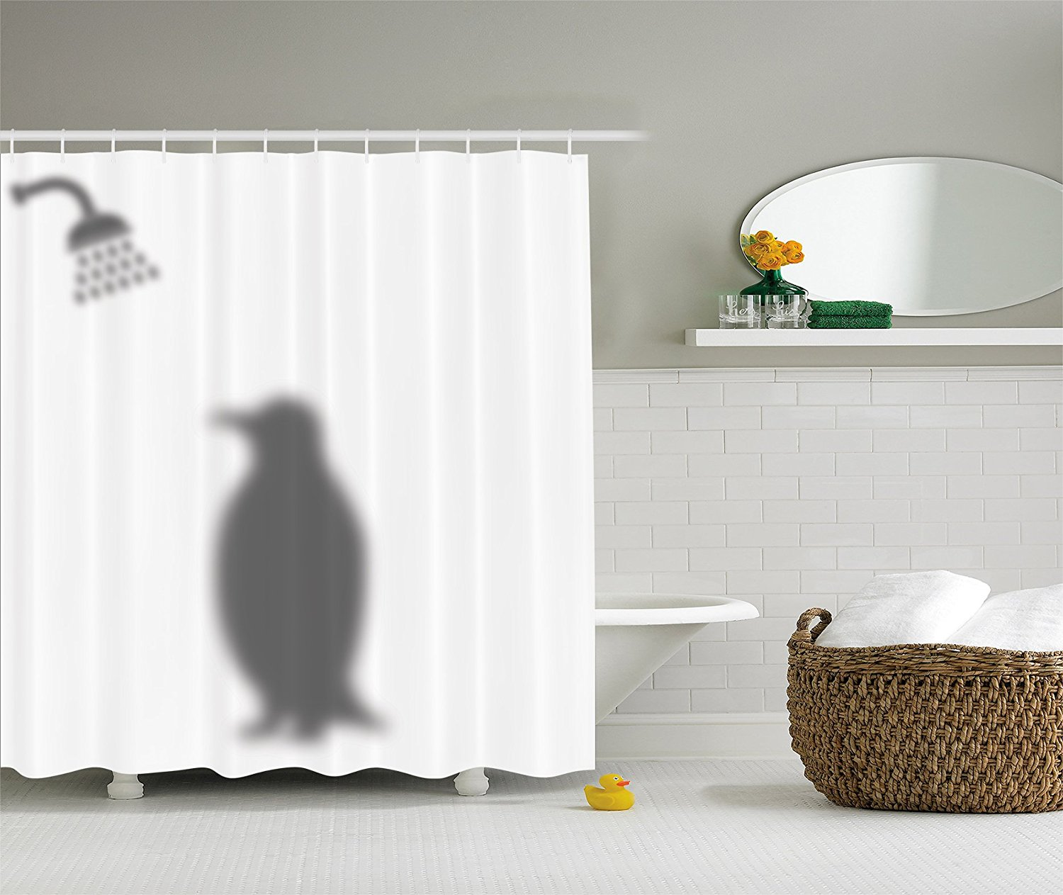 Memory Home Animals Decor Funny Waterproof Polyester Shower Curtain Penguin Shadow Fun Fabric With Hooks In Curtains From