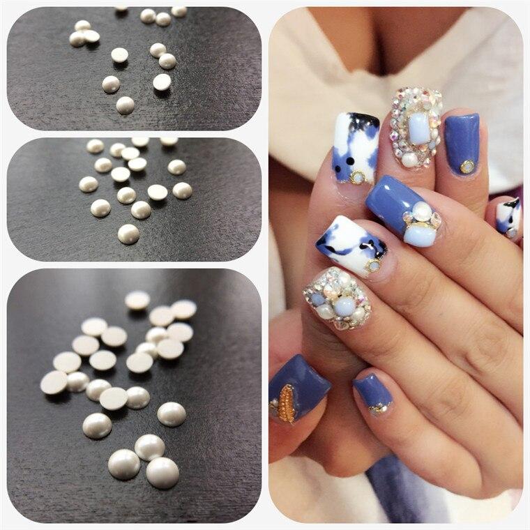 1000pcs 3d Imported Korean Fashion Pure Ceramic White Nail Art Tips Pearl Gem Glitter Manicure Diy