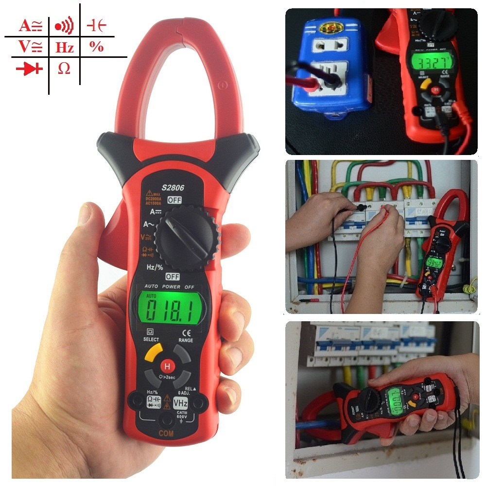 S2806 Digital AC DC Clamp Multimeter Auto Range 2000A Current Meter with Overload Protection and Carry Bag mini multimeter holdpeak hp 36c ad dc manual range digital multimeter meter portable digital multimeter