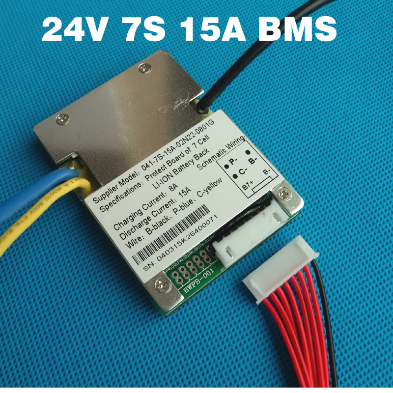 7 S 24 V 15A BMS li-ion akku BMS für 24 V 8Ah 10Ah 12Ah und 15Ah batterie e-bike batterie BMS Mit balance funktion