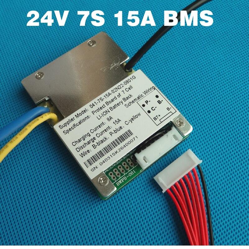 7 s 24 V 15A BMS li-ion BMS utilizado para 24 V 8Ah 10Ah 12Ah y 15Ah batería e batería de BMS con la función del balance