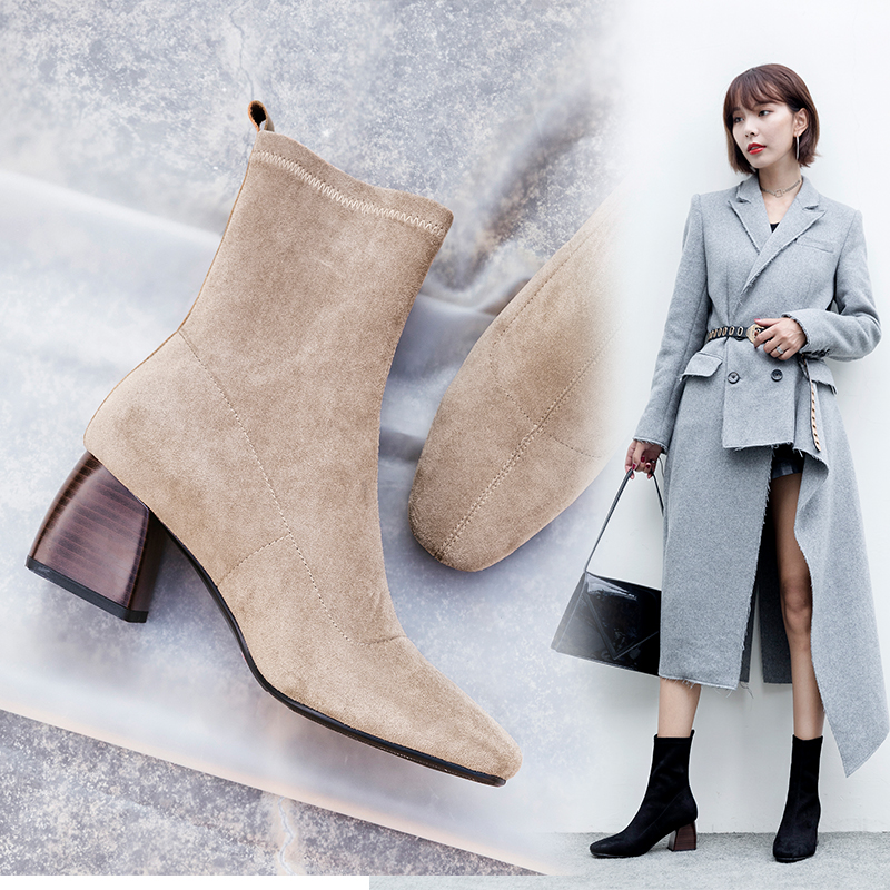 22-26.5cm length big size Women Boots British style Leather velvet stretch boots casual fashion Square head thick with elastic