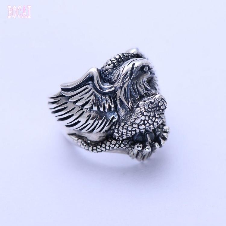 100% réel S925 bijoux en argent sterling vintage Thai argent aigle serpent bataille personnalité hommes anneau