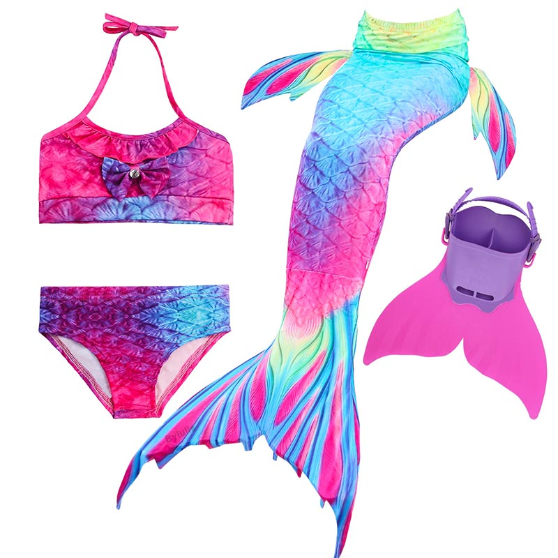 Girl Kids Swimmable Mermaid Tail Monofin Bikini Sets Bathing Swimsuit Costume