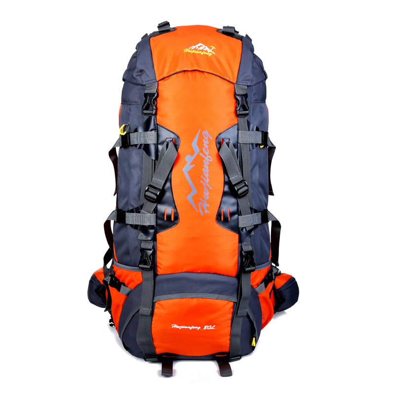 80L outdoor mountaineering bag metal frame climbing rucksack unisex hiking backpack camping waterproof treking bags rain