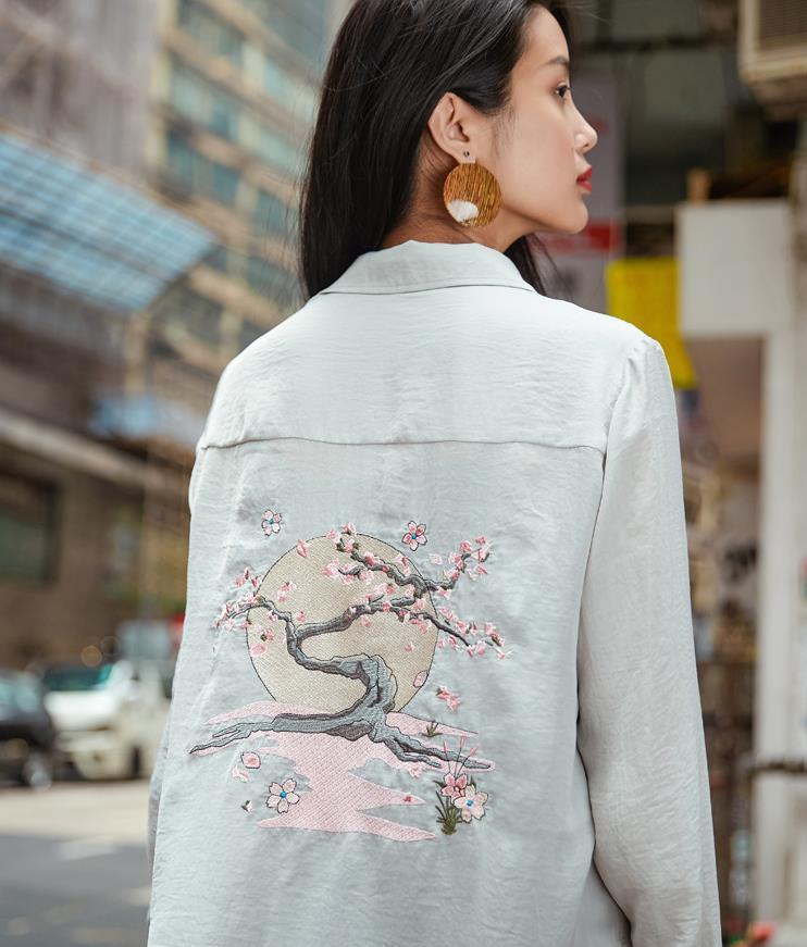 2018 printemps à manches longues Blouse femmes broderie Blusas Mujer lâche surdimensionné longue en mousseline de soie chemise décontracté hauts 184195