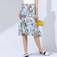 100% Silk Skirt Women Asymmetrical Slits Printed Sashes Beach Skirts High Quality Fabric Casual Style 2018 New Fashion