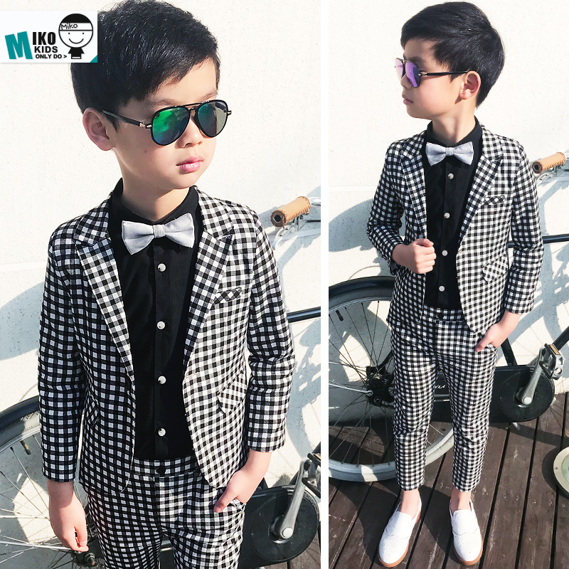 2018 Child Suits British Style Kids Dress Leisure For Party 2 10Years Wedding Flower Boy Dress Plaid Fashion Slim Suits