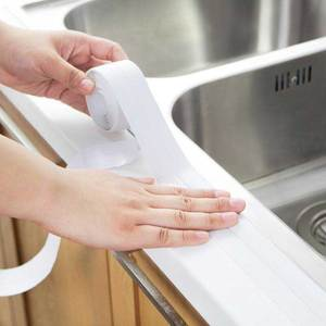 Image 3 - Nova fita auto adesiva banheira banheiro chuveiro wc cozinha parede selada à prova dlad água e mofo fita lad venda
