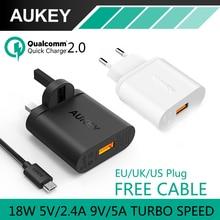 Aukey cargador Usb de carga rápida 2.0 Turbo cargador de pared EU reino unido ee.uu. Plug QC2.0 viajes de carga para el iPhone iPad de Apple Samsung 6 Xiaomi