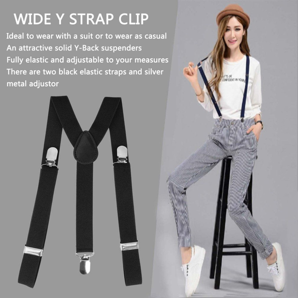 Mens Womens Trousers Leather Button Suspenders Adjustable Y-Back shape Braces