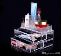 Mode Cristal Transparent Boîte à Bijoux Top Acrylique Boîte De Stockage Cosmétique Organisateur