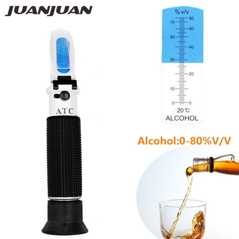 Portable Handheld Refractometer Design For Alcohol Liquor Content Testing 0-80% Range Built In ATC 37% Off