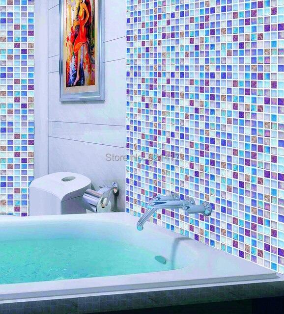 Multicolor Blue Gl Mosaic Tiles Kitchen Backsplash Bathroom Shower Bedroom Wall Dining Room