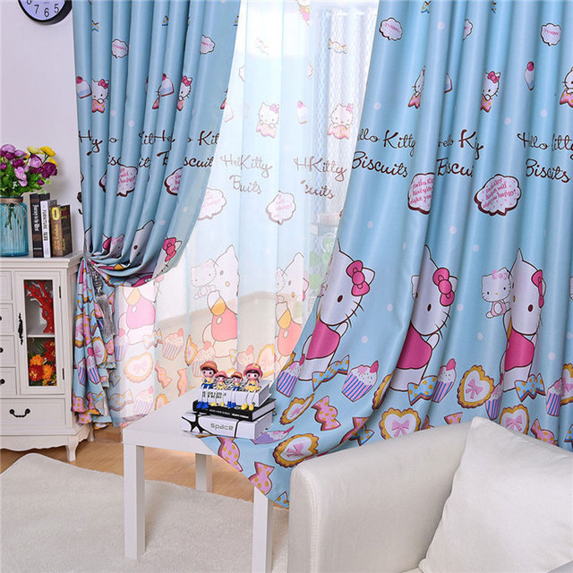 cute living room curtains modern farmhouse style hello kitty cartoon printed for kids baby children bedroom curtain drapes panel window treatments