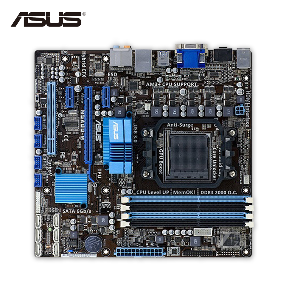 все цены на Asus M5A88-M Original Used Desktop Motherboard 880G Socket AM3+ DDR3 SATA3 USB3.0 uATX онлайн