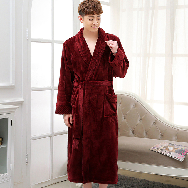 Hot Selling Men Winter Classic Long Warm Bathrobe Mens Soft Flannel Coral  Fleece Robes Thick Kimono Bath Robe Male Dressing Gown 39ae8ab17