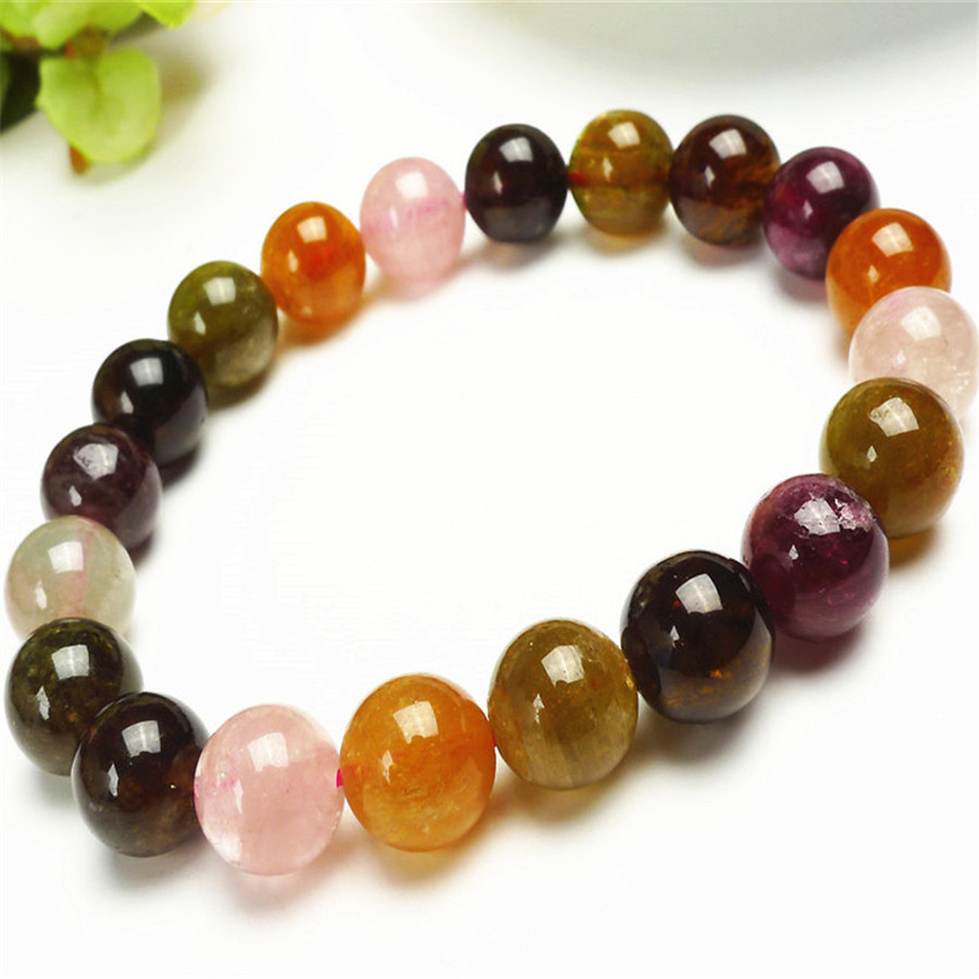 10mm Genuine Natural Colorful Tourmaline Gems Crystal Round Beads Bracelets For Women Femme Charm Stretch Bracelet10mm Genuine Natural Colorful Tourmaline Gems Crystal Round Beads Bracelets For Women Femme Charm Stretch Bracelet