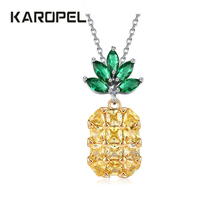 Cubic Zirconia Fruit Pendant Necklace pineapple Shiny Chain Yellow Zircon Statement Birthday Gift