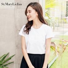 St.MaryLiclan women embroidery T shirt short sleeve o-neck summer fashion tees ladies streetwear casual tops tees