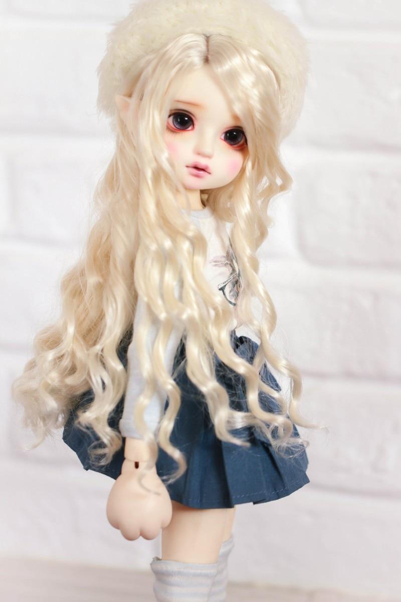 BJD Doll Hair Wigs Milk Golden Imitation Mohair Long Wave Wigs For 1/3 1/4 1/6 BJD DD SD MSD YOSD Super Soft  Doll Accessories