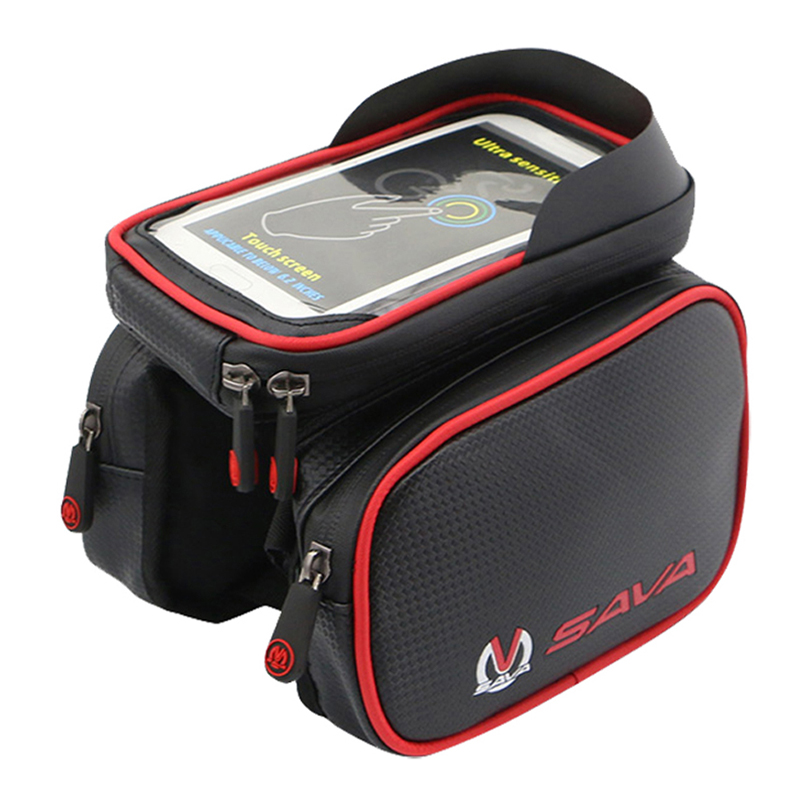 ФОТО SAVA Front Bicycle Bag Waterproof Cycling Bike Frame Tube Bag Double Pouch Cycling  Bags for 6.2inch Cell Phone Smartphone Case