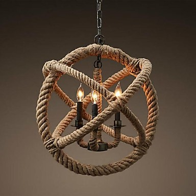 Country Retro Loft Style Vintage Lamp Industrial Pendant Light With 3 Lights Hemp Rope Lamp Luminaire Lamparas Colgantes america country led pendant light fixtures in style loft industrial lamp for bar balcony handlampen lamparas colgantes