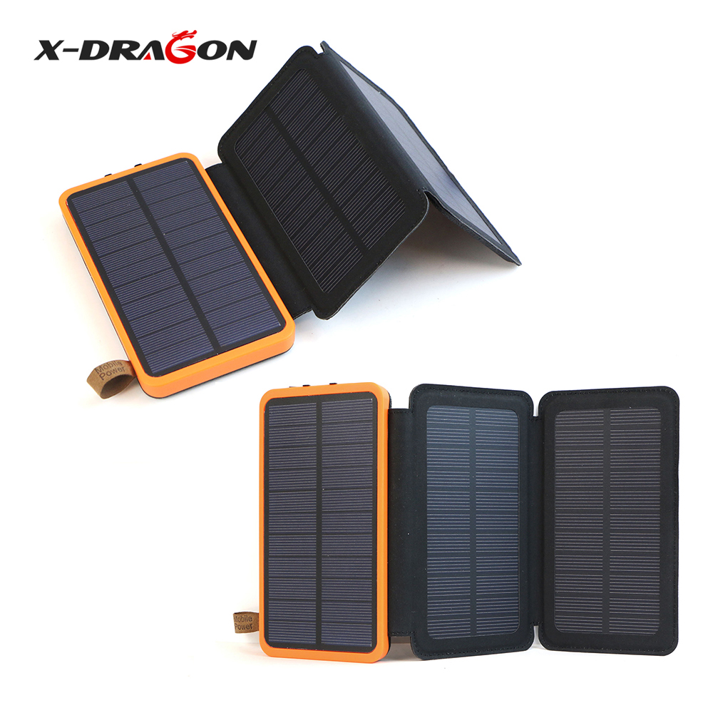 X-DRAGON 10000mAh Power Bank Solar Powered Phone Charger for iPhone iPad Samsung HTC Huawei Xiaomi HTC Coolpad OnePlus Nokia.