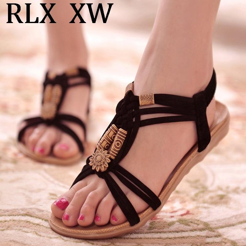 Schuhe Frauen Sandalen Rom Stil Sommer Schuhe Frauen Flache Sandalen Weichen Boden Gladiator Alias Mujer Strand Schuhe Weibliche Plus Größe 43