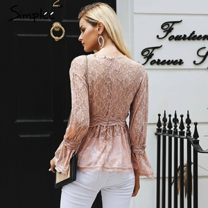 Image 3 - Simplee Kant Borduurwerk Peplum Blouse Shirt Vrouwen Elegante Ruches Flare Mouw Witte Blouse Vrouwelijke Casual Hollow Out Zomer Tops