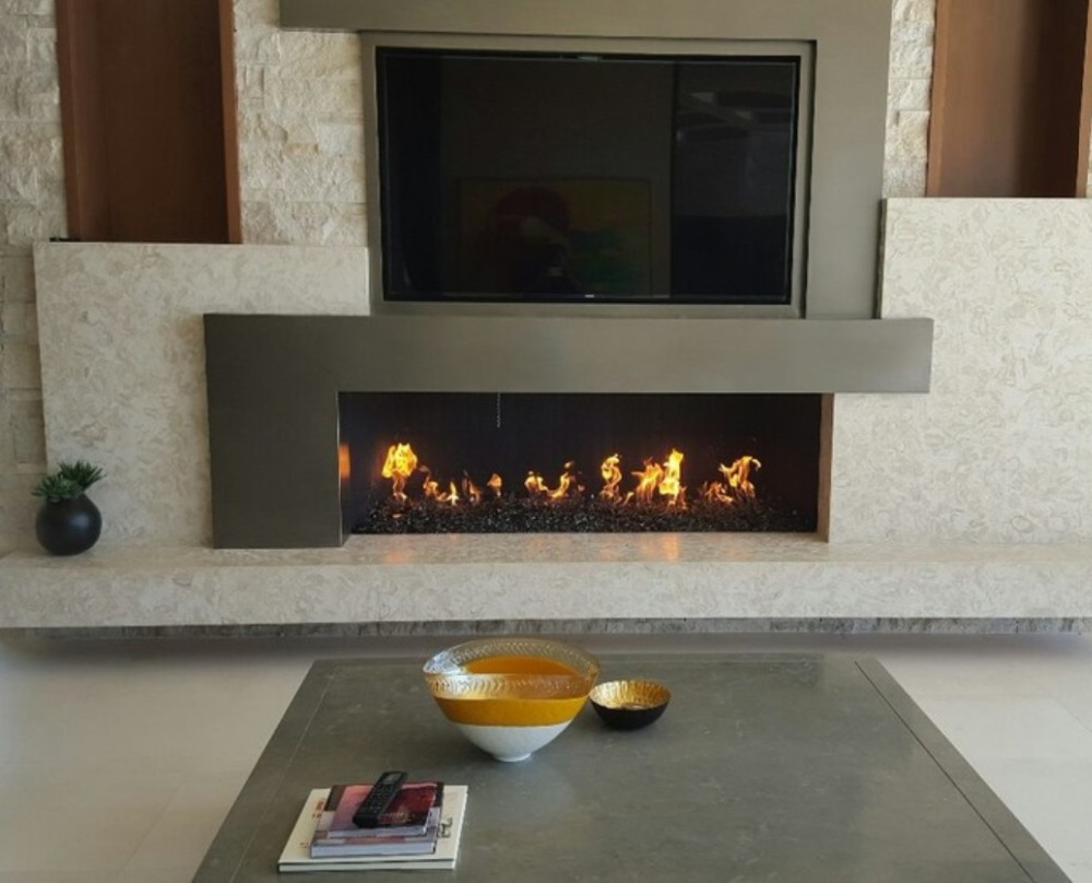 Inno-living 72 Inch Stainless Steel Lareira Stainless Steel Bio Ethanol Fireplace