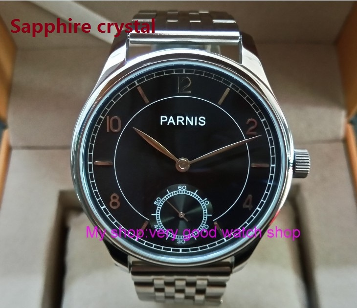 Sapphire crystal 44mm PARNIS Asian 17 jewels ST3621/6498 Mechanical Hand Wind movement black dial men