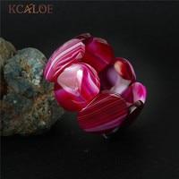 KCALOE Pink Big Natural Stone Beads Jewelry Charms Elastic Bracelets Bangles For Women Wrap Bracelet Joyeria Armband Damen