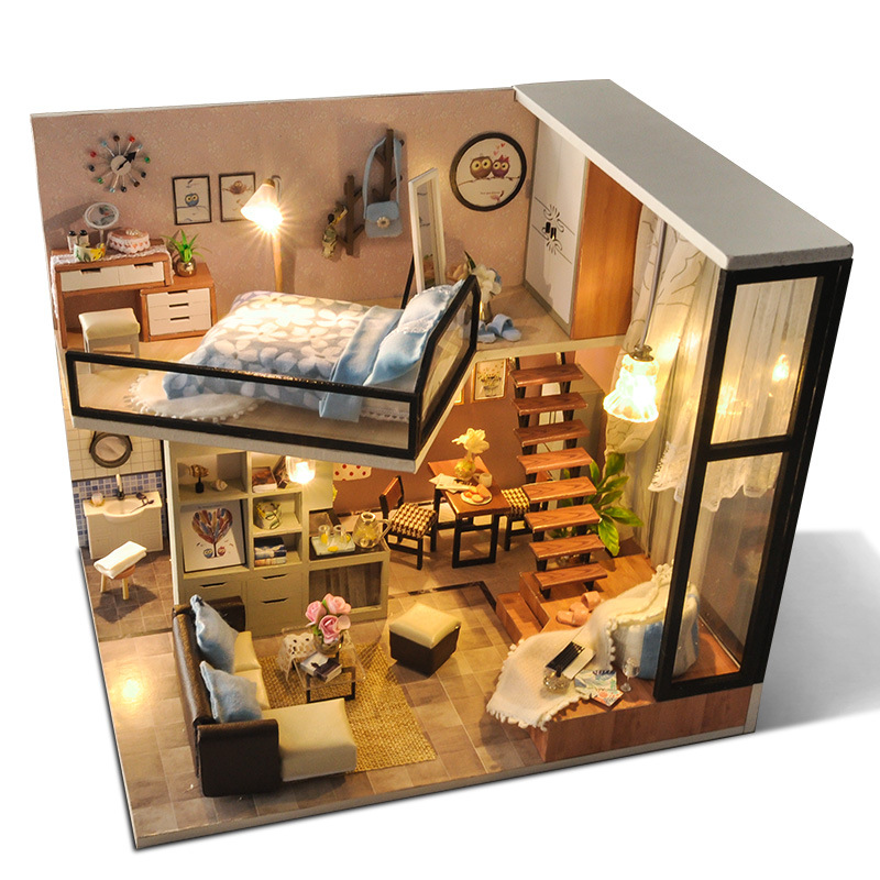 Cutebee DIY House Miniature with Furniture LED Music Dust Cover Model Building Blocks Toys for Child