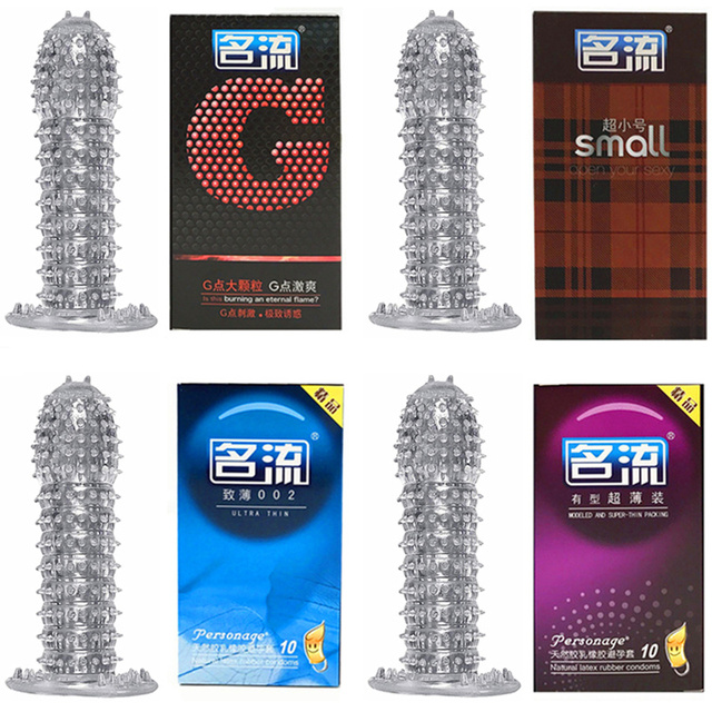 1 Reusable penis Sleeve +10 pcs/lot Condoms for Men Big Dots Thin Lubricanted Penis Extender Male Condoms Sexual Adult Sex Toys