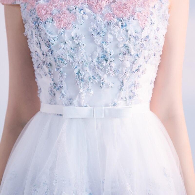 Elegant Tulle Lace Appliques A-Line Bridesmaid Dress 5