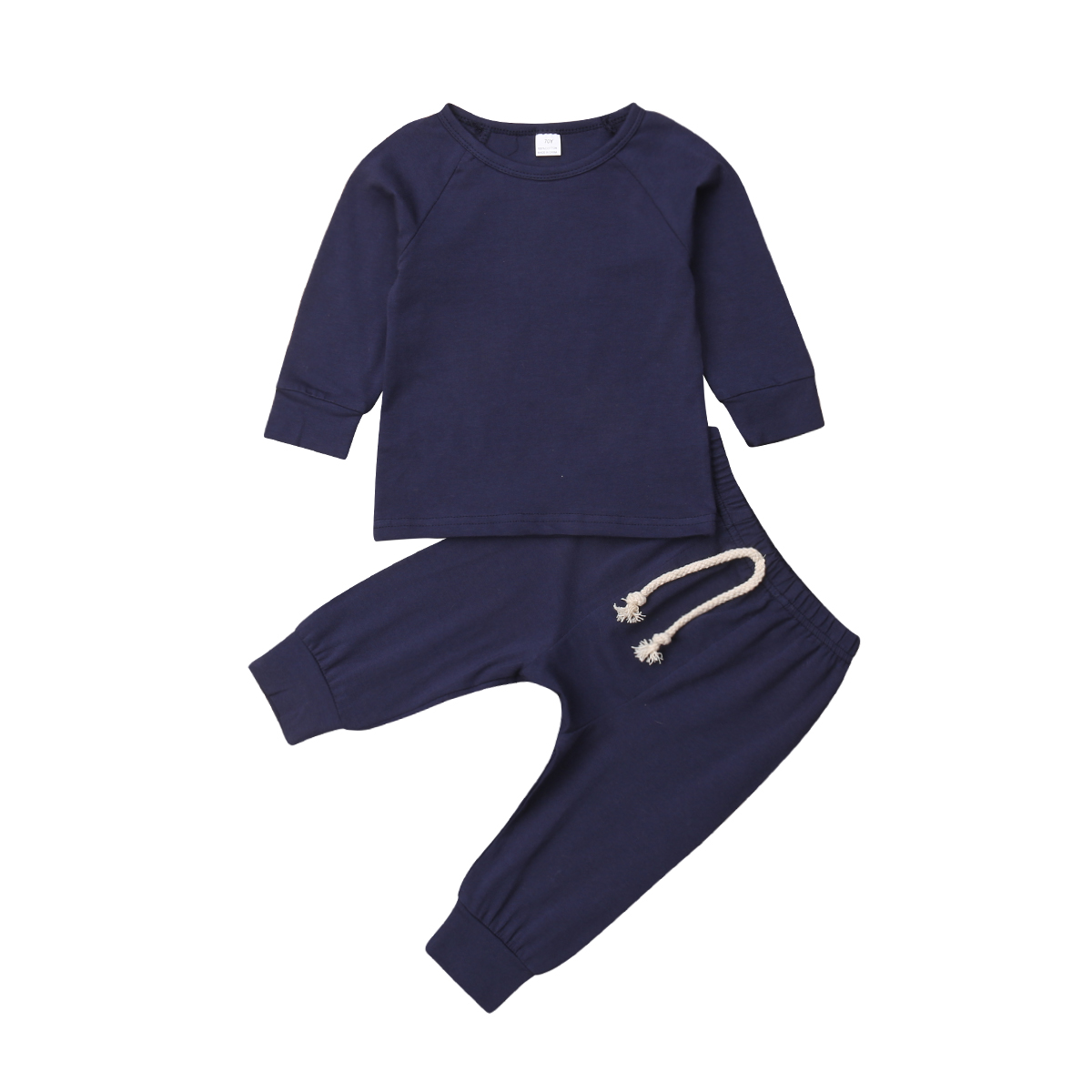 Хлопковый пижамный комплект с длинными рукавами для новорожденных мальчиков и девочек от 0 до 24 месяцев, одежда для сна, одежда для сна, топы и штаны, комплекты одежды для малышей из 2 предметов - Цвет: Тёмно-синий