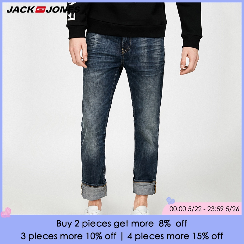 JACK&JONES Brand 2018 NEW Young loose straight fashion 99% cotton stretched male full length mid-waist   jeans   |217332517