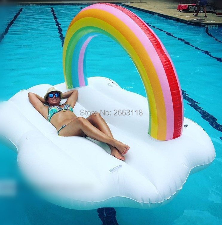 Giant new arrival rainbow cloud Gaint Inflatable Swimming Float Pool Float for Adult Tube Raft Kid Swimming Ring Summer Water