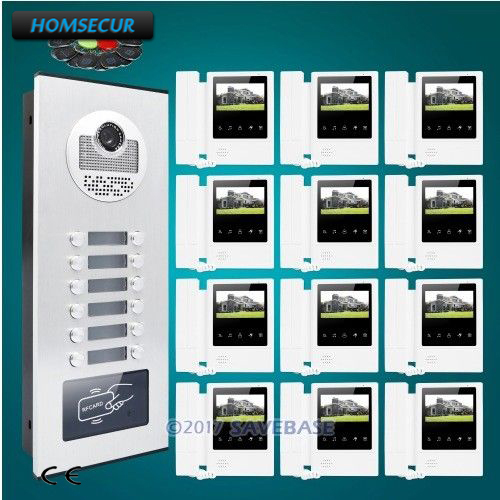 HOMSECUR 4.3 Apartment Video&Audio Smart Doorbell+Outdoor Monitoring for 12 Apartment my apartment