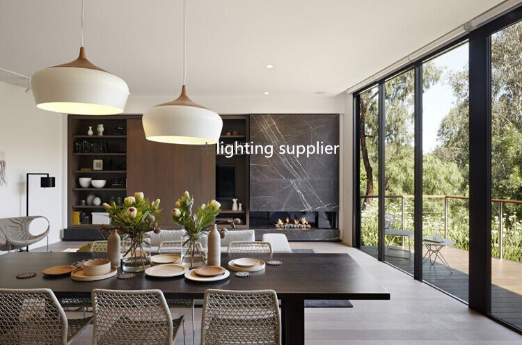 Modern Pendant Light Wood And Aluminum Lamp Black White Restaurant - Low hanging pendant lights